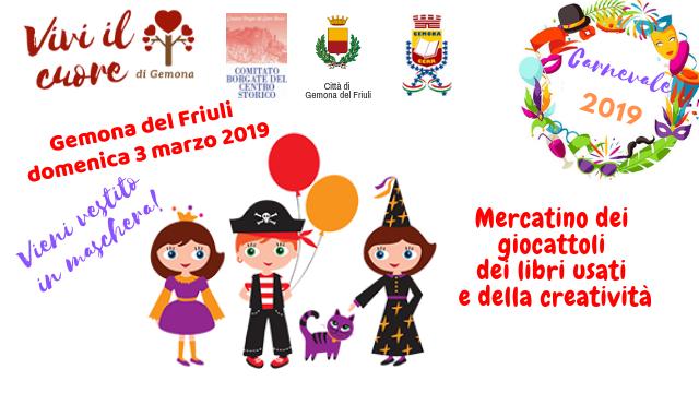 Mercatino dei giocattoli, dei libri usati e della creatività – Carnevale 2019